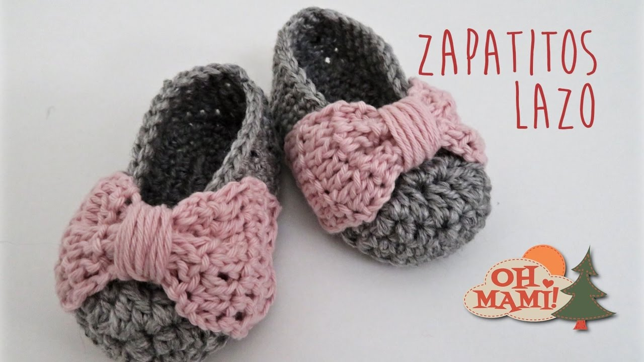 Zapatitos Lazo A Crochet Para Bebés 0 A 3 Meses Youtube