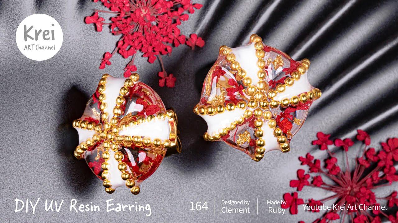 【UVレジン】DIYでドライフラワーを使ってピアスを作りました〜♪UV Resin -DIY Dried Flower in UV Resin Earring.