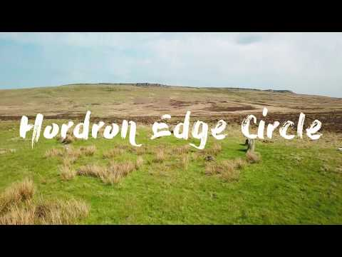 Aerial film of Hordron Edge Stone Circle in Derbyshire