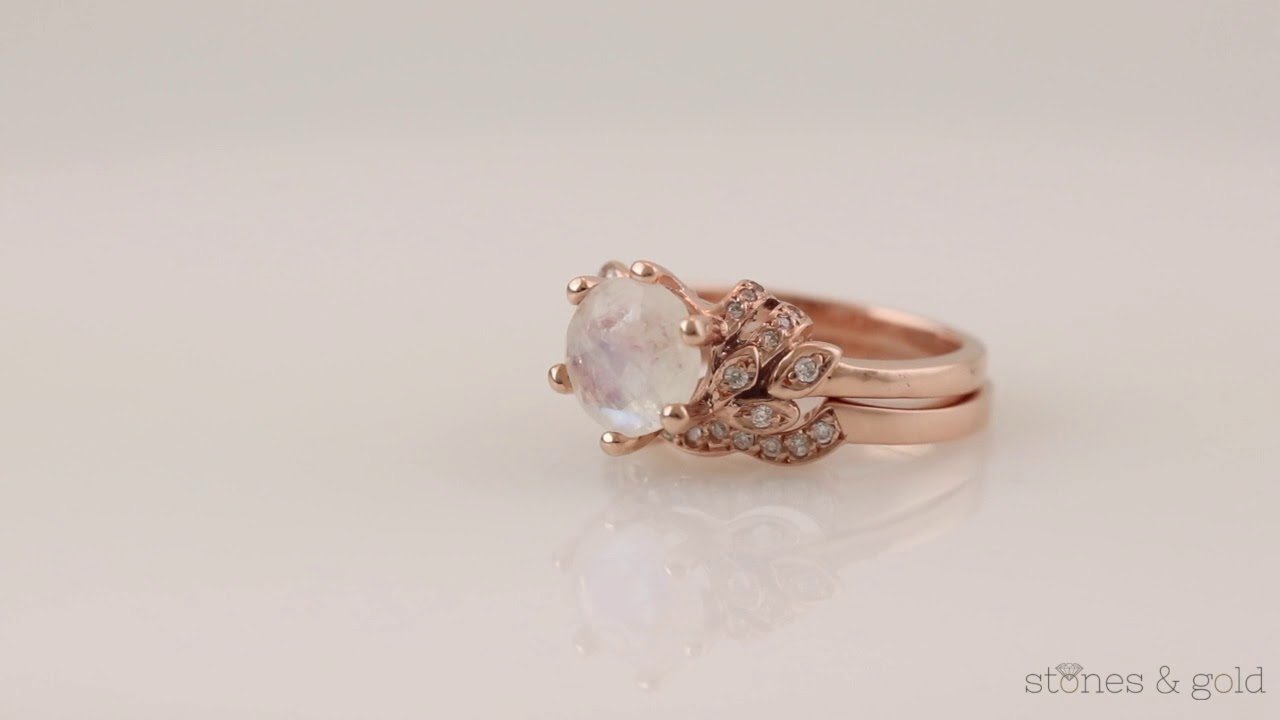 b6c2c6034ae SET Moonstone Floral Engagement Ring + Moonstone Floral Matching Band    SG000893+SG000893MB