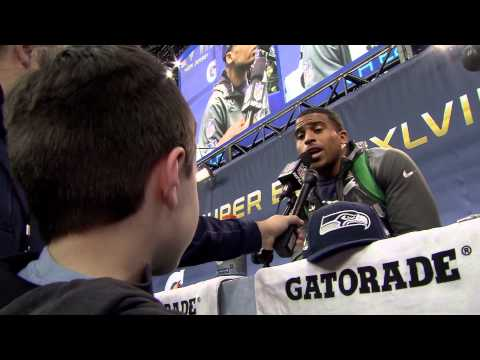 Watch Panini Super Bowl Kid Reporter Curtis Case Grill the NFC Champion Seattle Seahawks