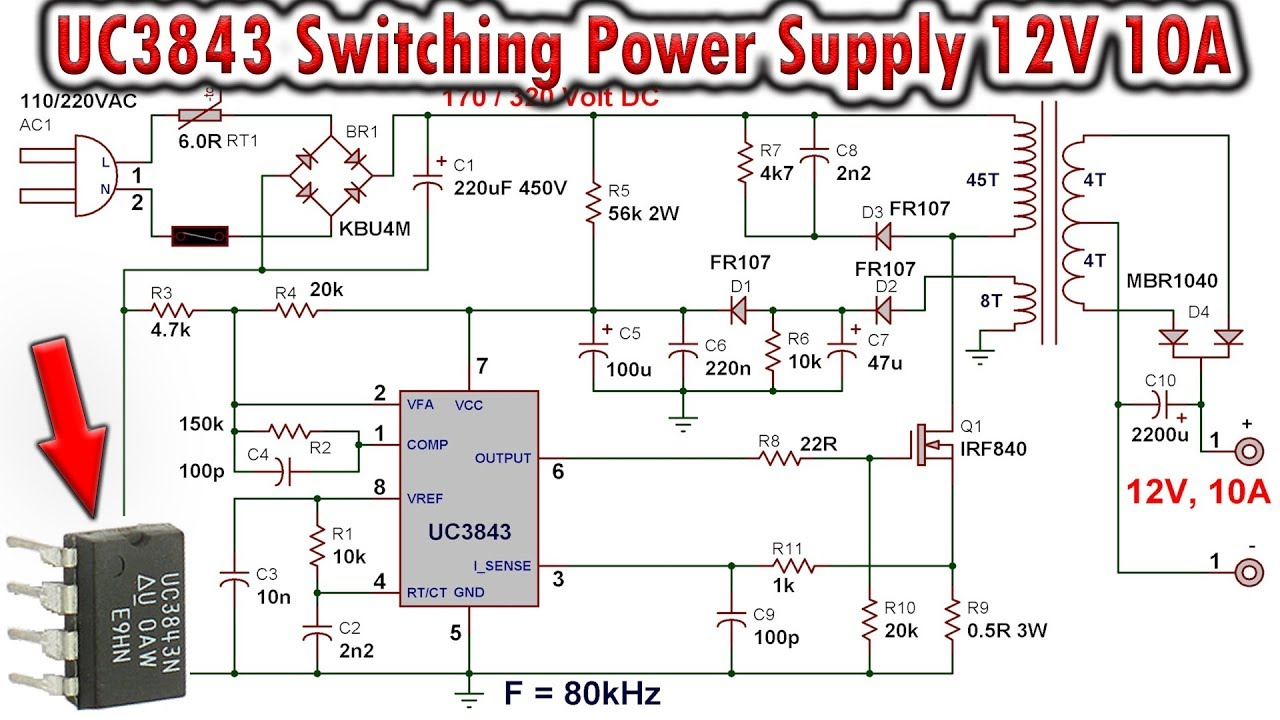 UC3843 Switching Power Supply 12V, 10A - YouTube