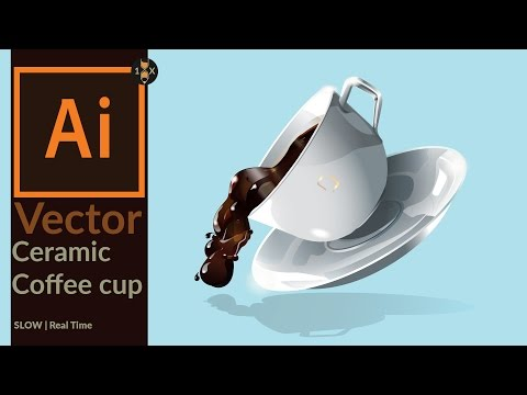 Drawing a vector ceramic coffee cup with coffee splash in Adobe Illustrator - Slow Real Time