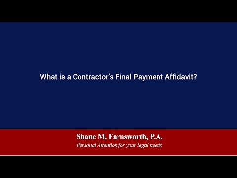 What Is A Contractor S Final Payment Affidavit Shane M