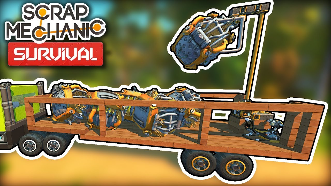 I Built a Trailer With a Crane For Retrieving Caged Farmers! (Scrap Mechanic Survival Ep.18)