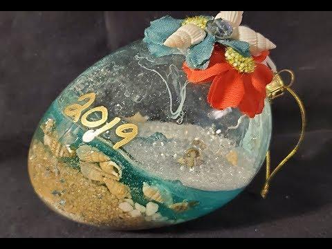 Resin Beach INSIDE Glass ornament (50% success) #resinbeach #resinart #fluidart