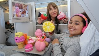 My Squishy Toys Collection! Business Class Airplane Flight To NYC