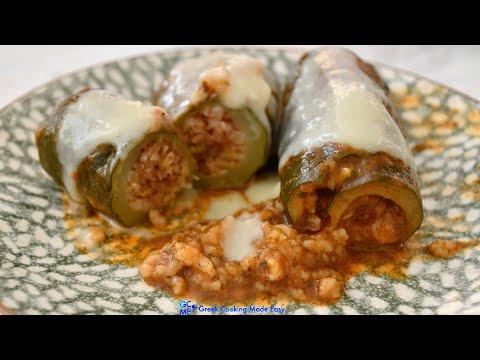 Greek Stuffed Courgettes in Egg – Lemon Sauce – Γεμιστά Κολοκύθια με σάλτσα Αυγολέμονο