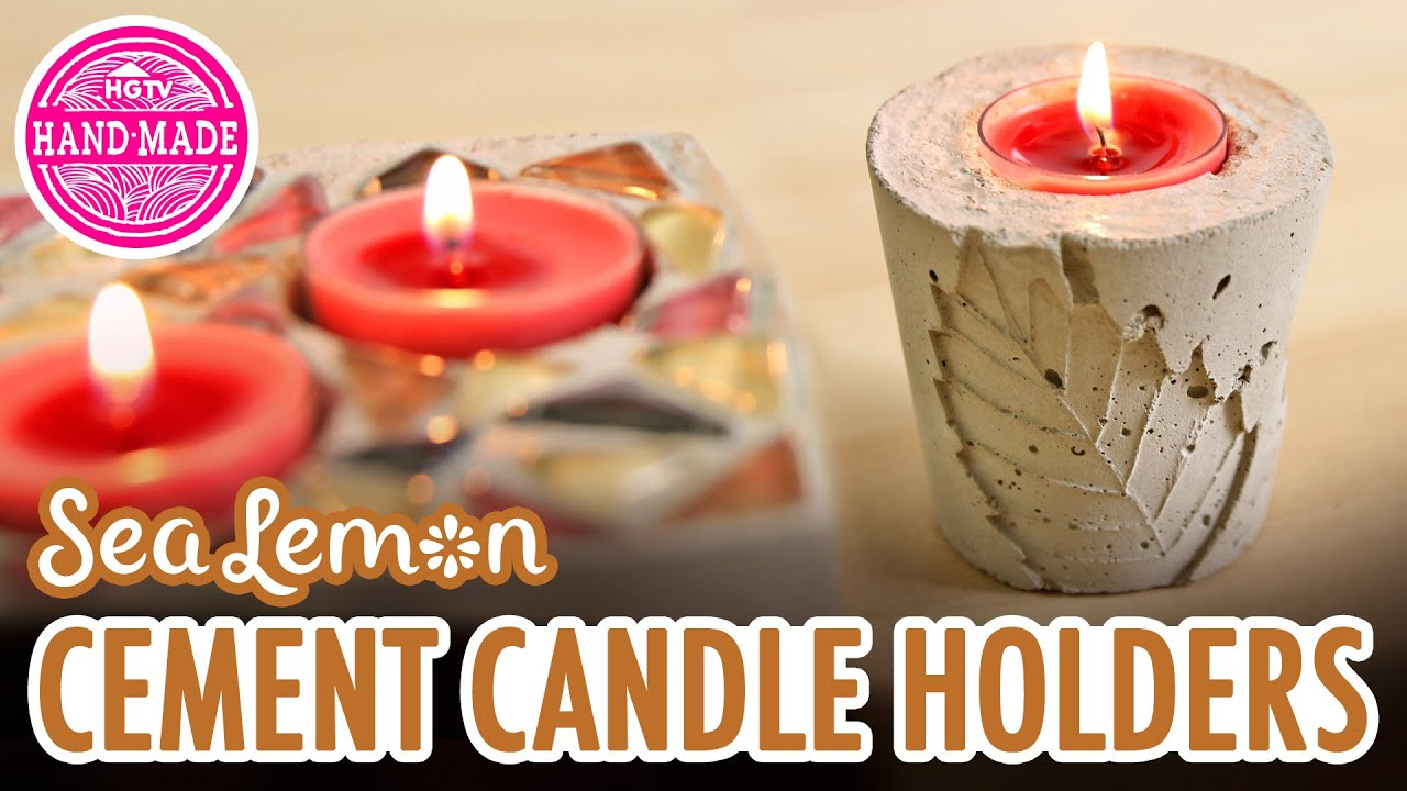 Diy Fall Cement Candle Holders With Sea Lemon Hgtv Handmade