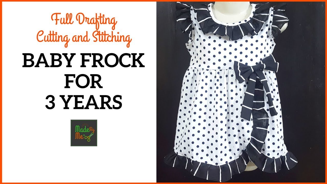 be4eccf22c2c 3 Years BABY FROCK DRAFTING Cutting and Stitching in Hindi Urdu