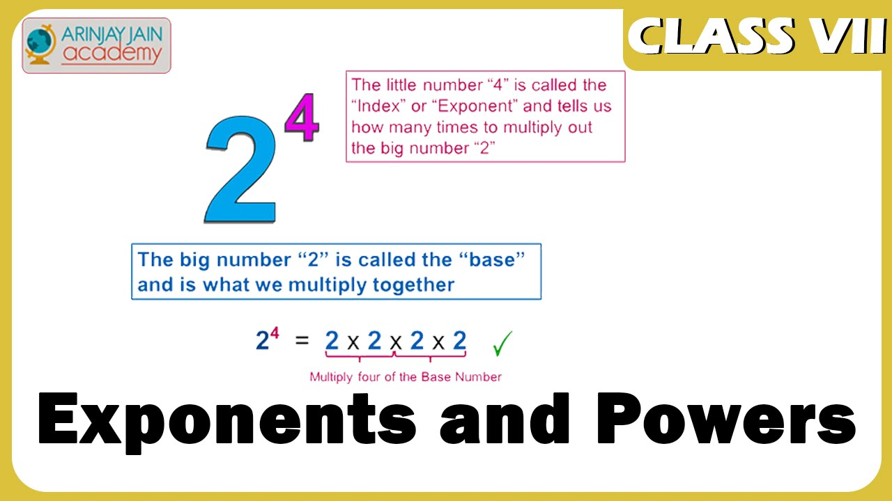 Exponents And Powers Maths Class 7vii Iscecbse Ncert Youtube
