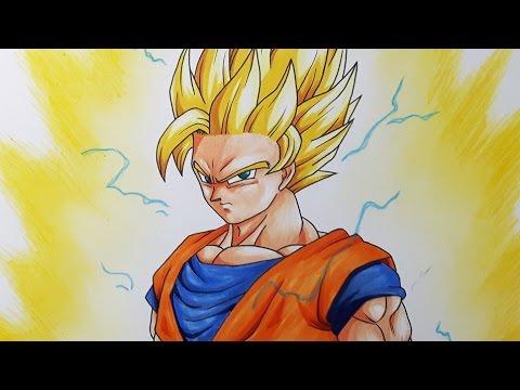 How To Draw Goku Super Saiyan 2 - Step by Step Tutorial ...