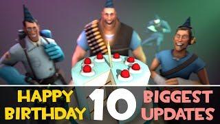 TF2: Top 10 BIGGEST Updates! [Team Fortress 2 10th Birthday]