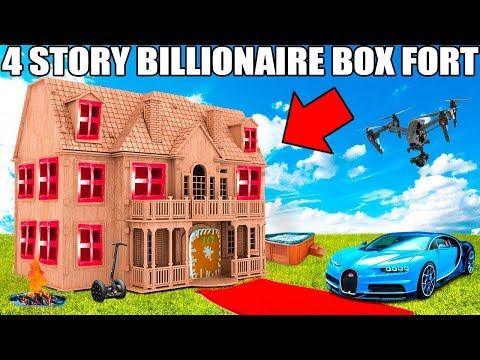 4 STORY BILLIONAIRE BOX FORT CHALLENGE!! Movie Theatre, Drone Defence, Gaming Room & More!