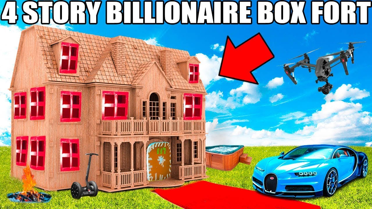 4-story-billionaire-box-fort-challenge-movie-theatre-drone-defence-gaming-room-more