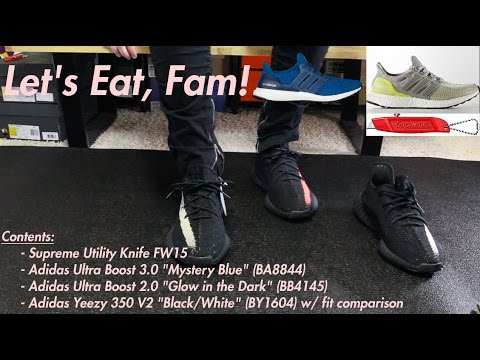792bf18f3 How Do Adidas Yeezy 350 V2 Fit  Black White vs. Black Red + Glowing Ultra  Boost !