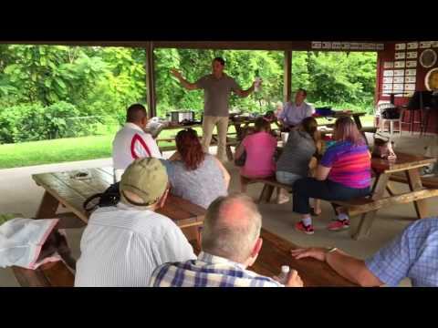 Former Congressman Zack Space speaks to the Logan County Democratic Party 8-2-17
