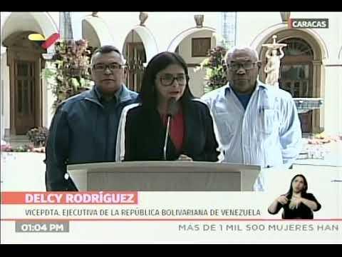 Delcy Rodríguez, vicepresidenta venezolana, rueda de prensa el 16 agosto 2019