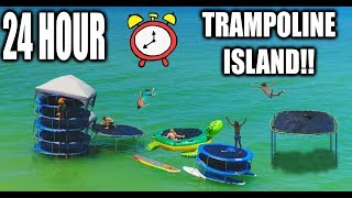 connectYoutube - 24 HOUR TRAMPOLINE FORT IN THE OCEAN!! Round 2! (COPS CALLED 5 TIMES)
