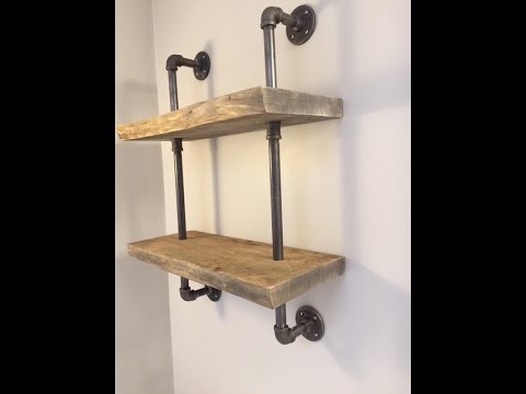 How To Make Live Edge Wood Shelf With Gas Pipe - YouTube