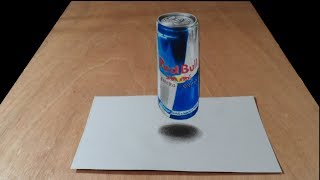 RED BULL CAN - How to Draw Red Bull - 3D Trick Art on Paper