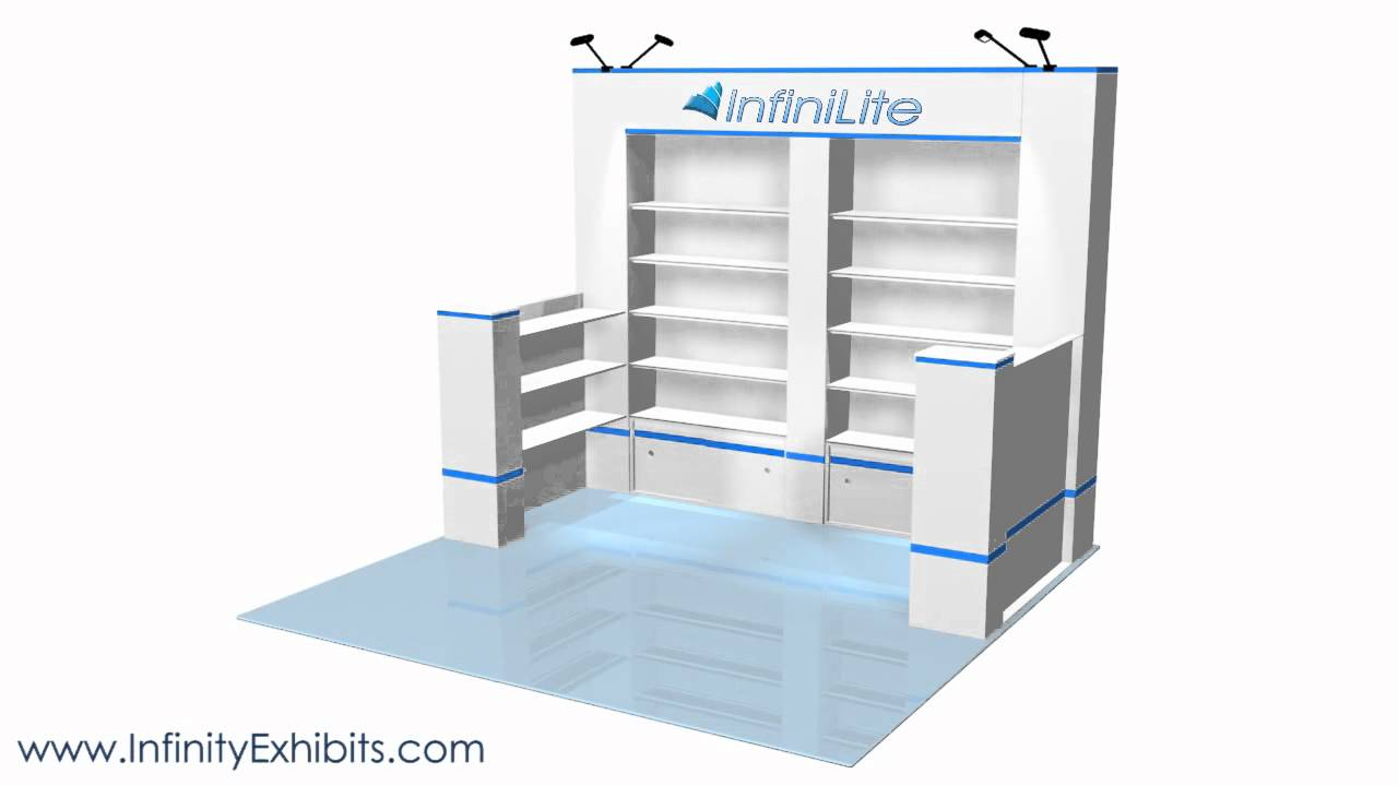 Trade Show Booth With Shelves : Ft multi section with short wall shelf trade show