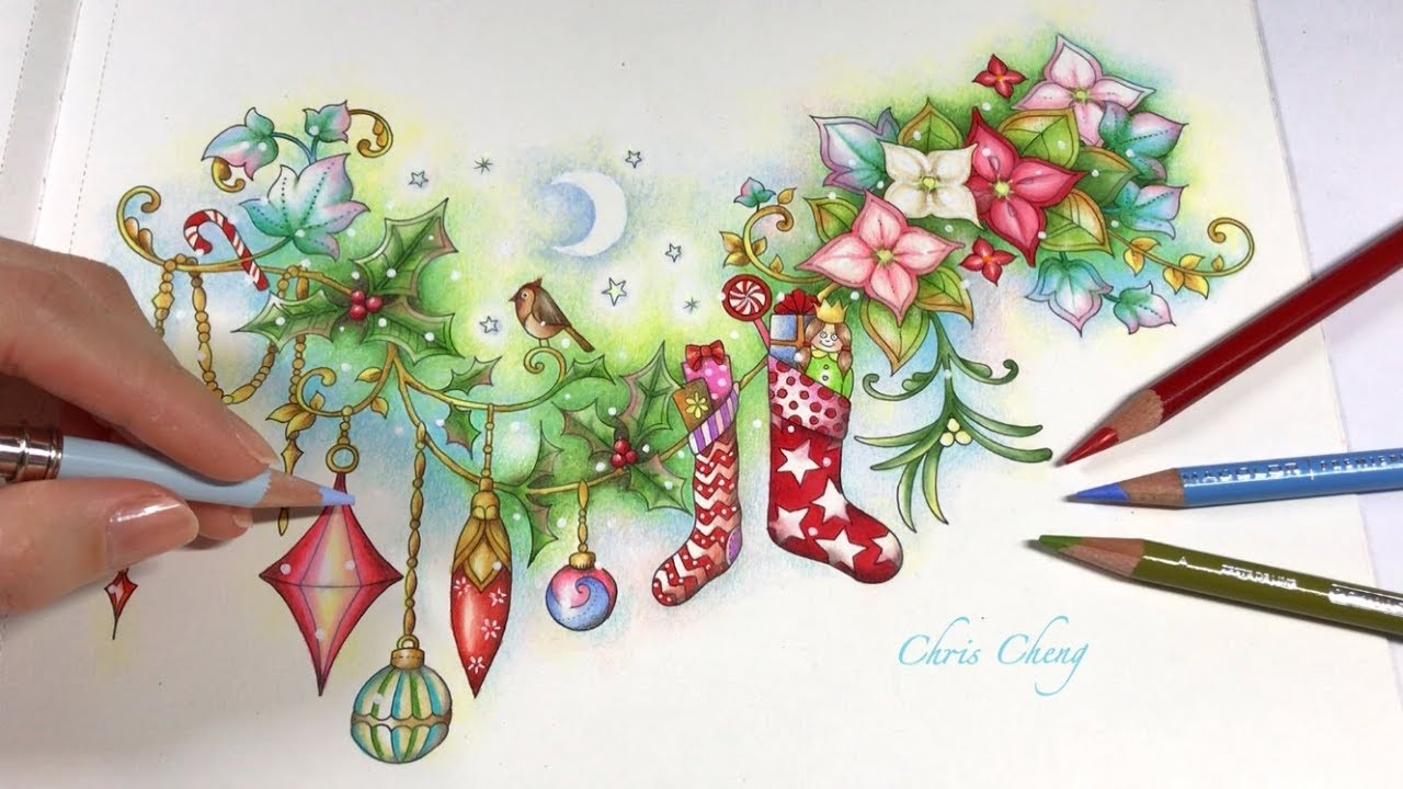 merry christmas johannas christmas coloring book chris cheng