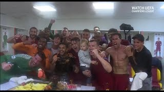 Crazy Dressing Room Scenes After Roma Beat Barcelona In The Champions League