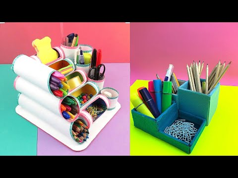 BACK TO SCHOOL DESKTOP ORGANISER from Cardboard -  Easy DIY Desk Organisers | Cardboard Organisers