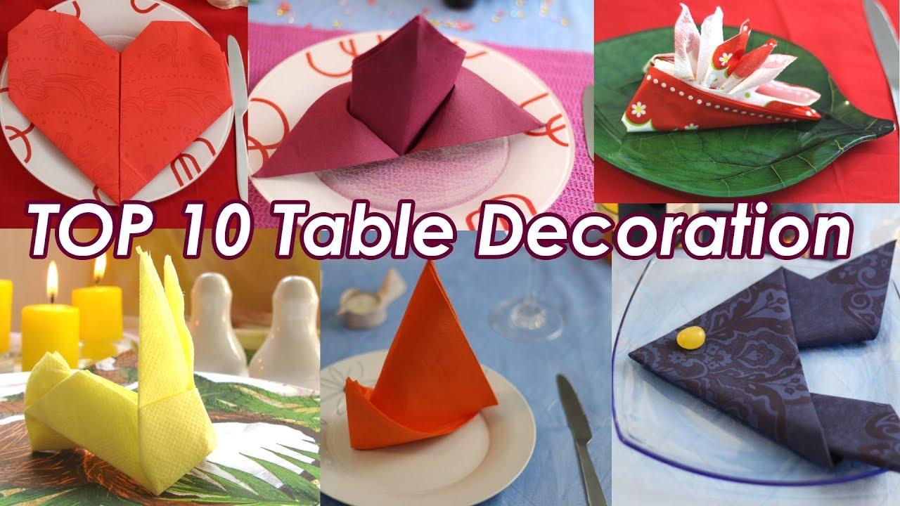 Top 10 Table Decoration Ideas Paper Napkin Folding