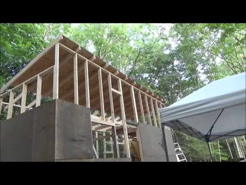 Nailing On The Roof Sheathing And Squaring The Tiny House