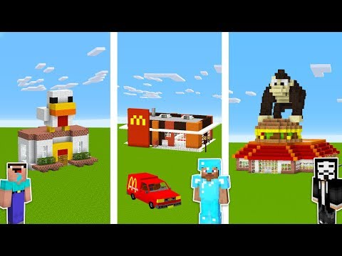 Minecraft FAST FOOD RESTAURANT CHALLENGE 🍕 / Noob vs Pro vs Hacker in Minecraft