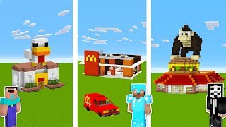 Minecraft NOOB vs PRO vs HACKER: FAST FOOD RESTAURANT in Minecraft / Funny Animation thumbnail
