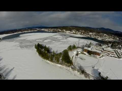 Drone footage of New Hampshire after winter storm Stella