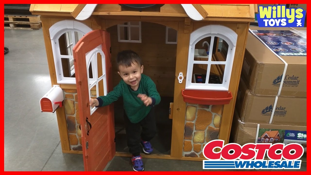 Cedar summit stoneycreek cedar playhouse at costco kids toy review willys toys youtube - Costco toys for kids ...