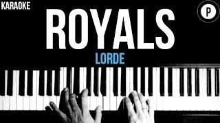 Lorde - Royals Karaoke SLOWER Acoustic Piano Instrumental Cover Lyrics