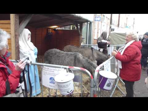 Chichester  Woodland crafts Christmas market - Mary, Joseph  and Baby Jesus  - Jólamarkaður