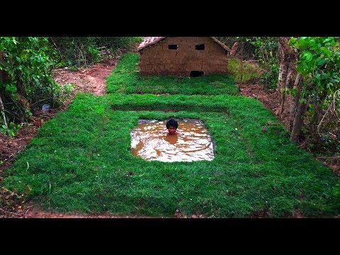 Secret Of Primitive: Building  Underground Swimming Pool