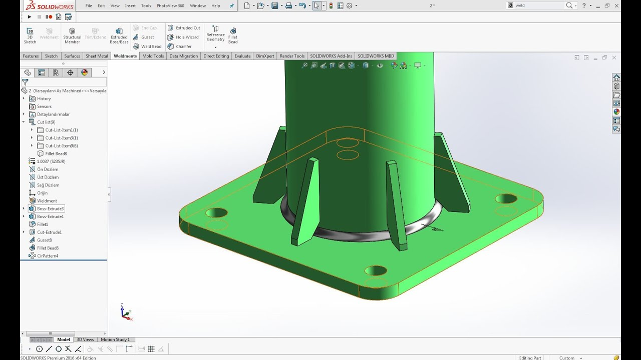 Solidworks Weldments Gusset Bayrak Komutu Youtube