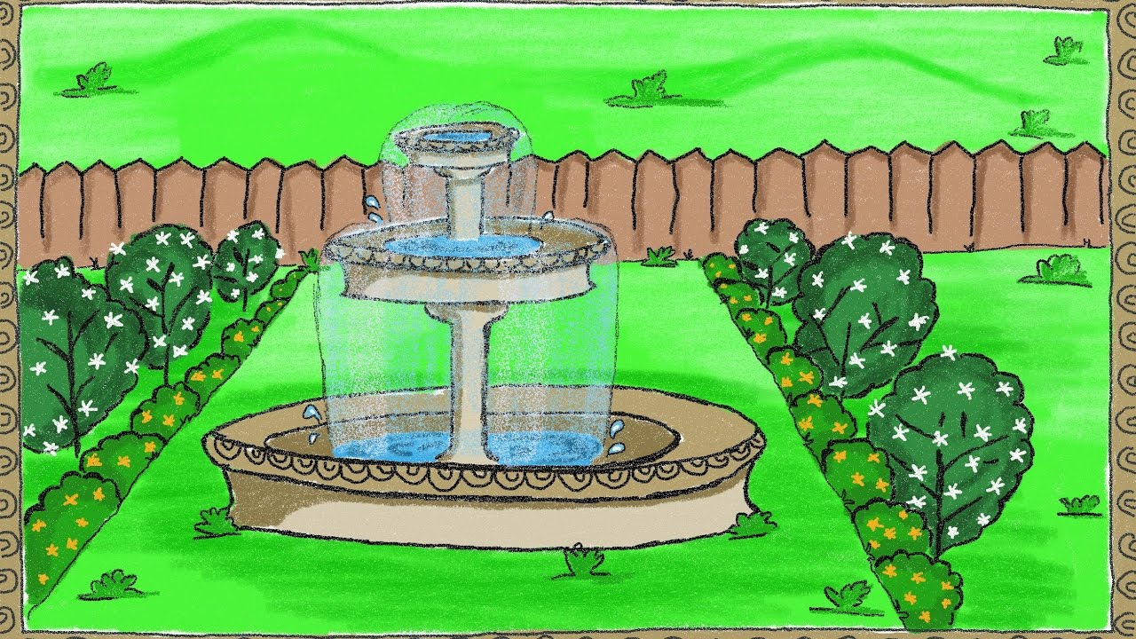 Vegetable garden kids drawing - Drawing A Simple Garden Fountain How To Draw A Fountain Drawing For Kids