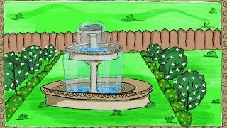Drawing a simple garden fountain | How to draw a fountain | Drawing for kids