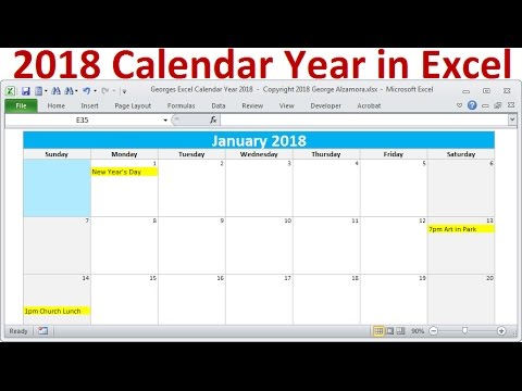 2018 Calendar Year in Excel, 2018 Monthly Calendars, Year 2018