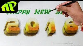 Happy New Year 2016 -  3D Text Drawing