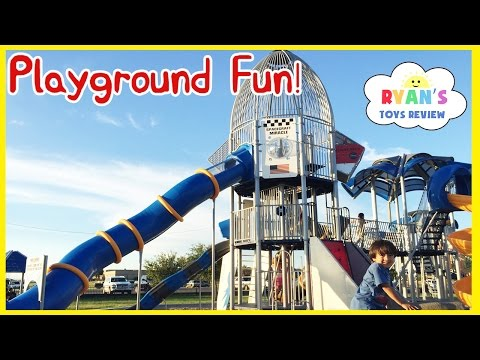 HUGE OUTDOOR PLAYGROUND for Children Giant Slides for Kids Family Fun Play Area at the Park Ryan