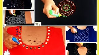 Liquid Embroidery Designs for Kurtis / Saree / Blouses | Mirror & beads work | Embroidery designs