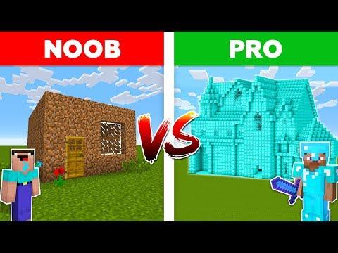 Minecraft NOOB vs PRO: DIAMOND HOUSE vs DIRT HOUSE battle in Minecraft!