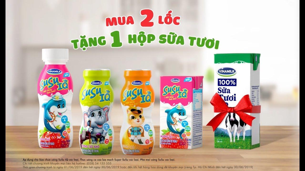 Quảng cáo SỮA CHUA SUSU IQ MỚI – Khuyến mãi cực hấp dẫn cho bé – Mua 2 lốc SuSu, tặng 1 hộp sữa tươi