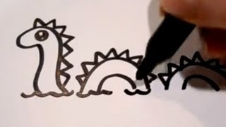 How to Draw a Cartoon Loch Ness Monster