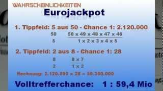 EuroJackpot - Die Berechnung der Jackpot Gewinnwahrscheinlichkeit