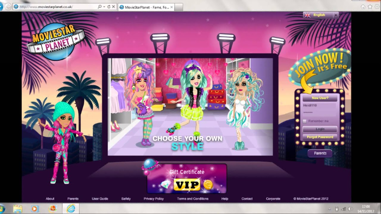 movie star planet the game login
